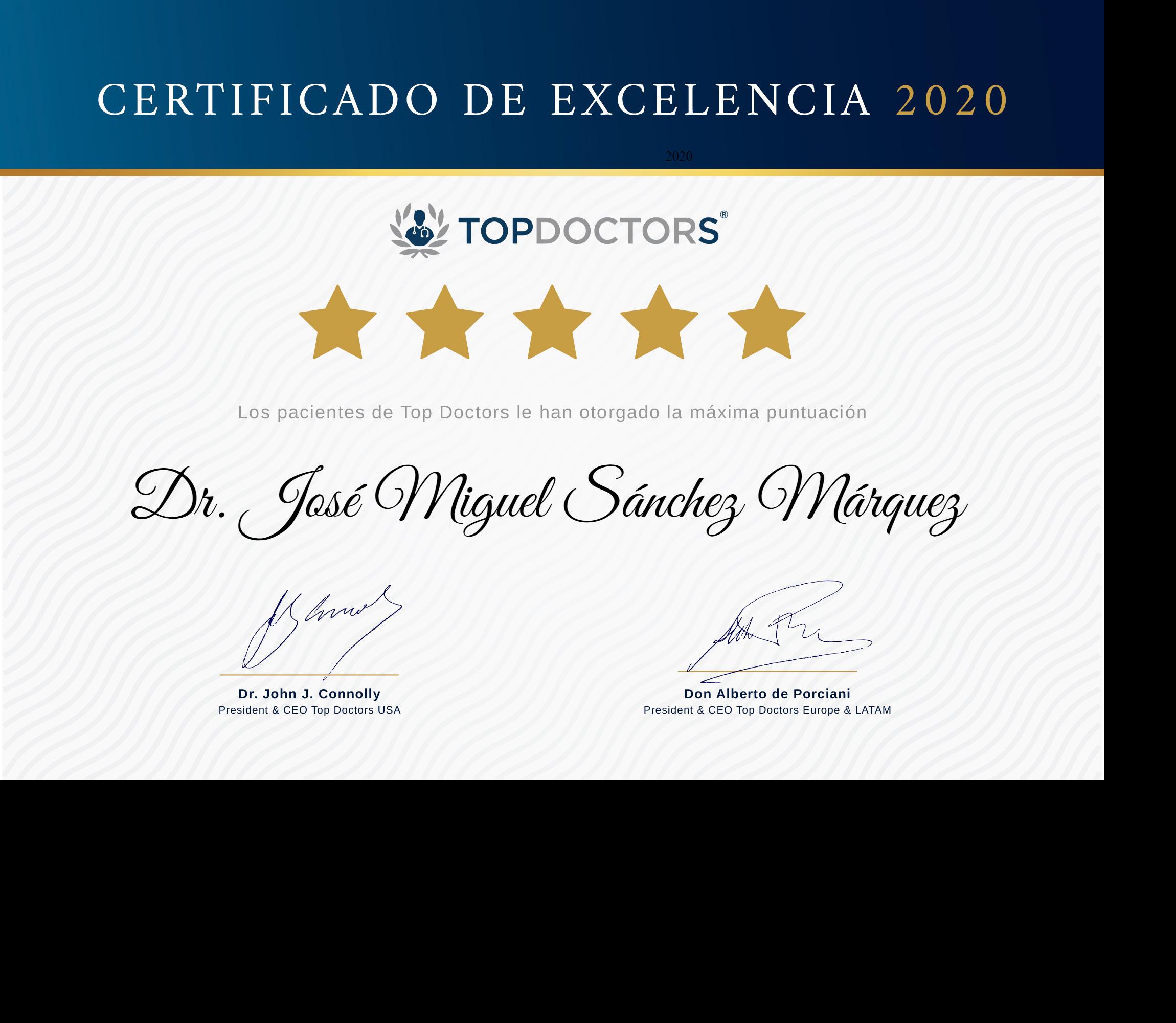 Certificado de exclencia médica: Dr. Sánchez Márquez - Top Doctors